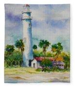 Light House At The Beach Fleece Blanket