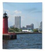Light House Milwaukee Skyline 1 Fleece Blanket
