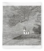 Light House On San Juan Island Lime Point Lighthouse Fleece Blanket