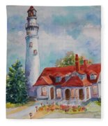 Light House, Wisconsin  Fleece Blanket