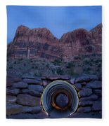 Light Painting Inside A Round Tunnel Fleece Blanket