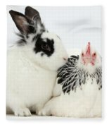 Light Sussex Bantam Hen And Rabbit Fleece Blanket