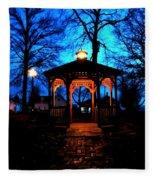 Lighted Gazebo Sunset Park Fleece Blanket