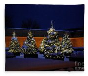 Lighted Trees With Snow Fleece Blanket