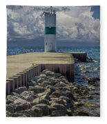 Lighthead At The End Of The Pier In Pentwater Michigan Fleece Blanket