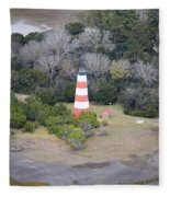 Lighthouse Aerial Near Jekyll Island Fleece Blanket