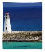 Lighthouse Along Coast Of Paradise Island Bahamas Fleece Blanket
