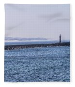 Lighthouse And A Sailing Boat Fleece Blanket