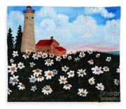 Lighthouse And Daisies Fleece Blanket