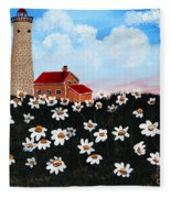 Lighthouse And Daisies Fleece Blanket