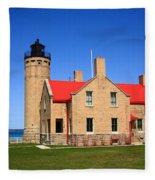Lighthouse And Mackinac Bridge Fleece Blanket