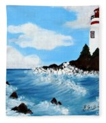 Lighthouse And Sunkers Fleece Blanket