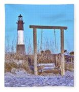 Lighthouse And Swing Fleece Blanket