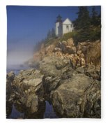 Lighthouse At Bass Harbor Maine Fleece Blanket