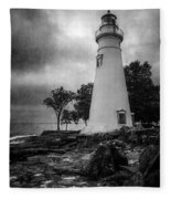 Lighthouse At Marblehead Fleece Blanket
