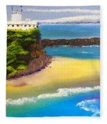 Lighthouse At Nobbys Beach Newcastle Australia Fleece Blanket