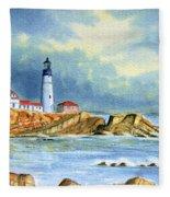 Lighthouse At Portland Head Maine Fleece Blanket