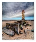 Lighthouse At Talacre  Fleece Blanket