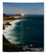 Lighthouse At The Coast, Moonlight Fleece Blanket
