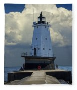 Lighthouse At The End Of The Pier In Ludington Michigan Fleece Blanket