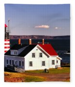 Lighthouse At West Quoddy Head Fleece Blanket