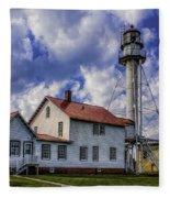 Lighthouse At Whitefish Point Fleece Blanket