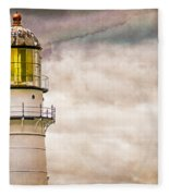 Lighthouse Cape Elizabeth Maine Fleece Blanket
