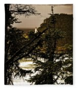 Lighthouse From The Distance Fleece Blanket