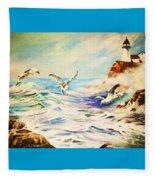 Lighthouse Gulls And Waves Fleece Blanket
