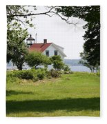 Lighthouse Hidden Behind Trees Fleece Blanket