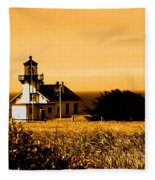 Lighthouse In Autumn Fleece Blanket