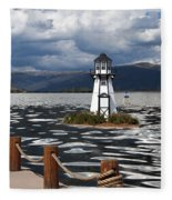 Lighthouse In Lake Dillon Fleece Blanket