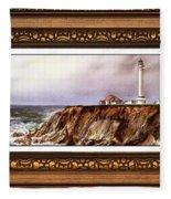 Lighthouse In Vintage Frame Fleece Blanket
