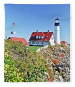 Lighthouse Of Maine Fleece Blanket