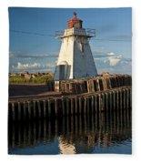 Lighthouse On A Channel By Cascumpec Bay On Prince Edward Island No. 095 Fleece Blanket