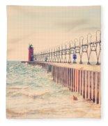 Lighthouse On Lake Michigan Fleece Blanket