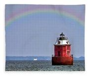 Lighthouse On The Bay Fleece Blanket