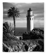 Lighthouse On The Bluff Fleece Blanket