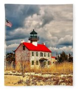 Lighthouse On The Delaware Fleece Blanket
