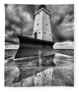 Lighthouse Reflection Black And White Fleece Blanket