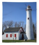 Lighthouse - Sturgeon Point Michigan Fleece Blanket