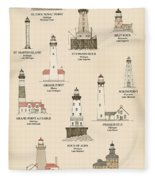 Lighthouses Of The Great Lakes Fleece Blanket