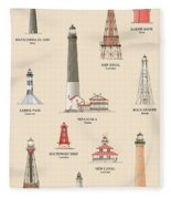 Lighthouses Of The Gulf Coast Fleece Blanket