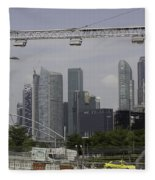 Lighting Work For The Singapore Formula One And A View Of The Helix Bridge Fleece Blanket