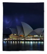 Lightning Behind The Opera House Fleece Blanket