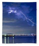 Lightning Over Safety Harbor Pier Fleece Blanket