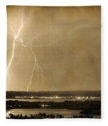 Lightning Strike Boulder Reservoir And Coot Lake Sepia 2 Fleece Blanket