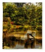 Lightning Strike By The Nature Center Merged Image Fleece Blanket