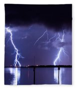 Lightning Over Tampa Causeway Fleece Blanket