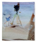 Lights Butterflies Sand And Surf Fleece Blanket